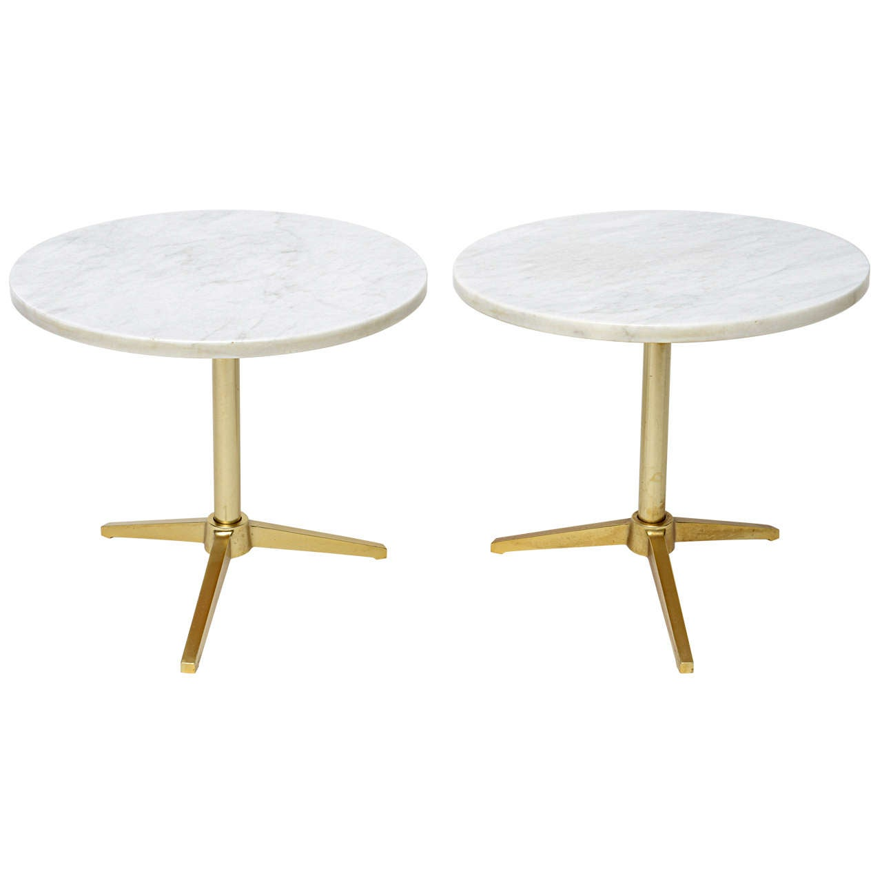 1960s Stellar Italian Marble Top Brass Base Side Tables 1