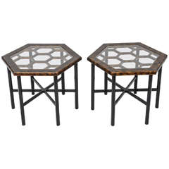 Pair of Widdicomb Hexagonal Faux Tortoise Occasional Tables
