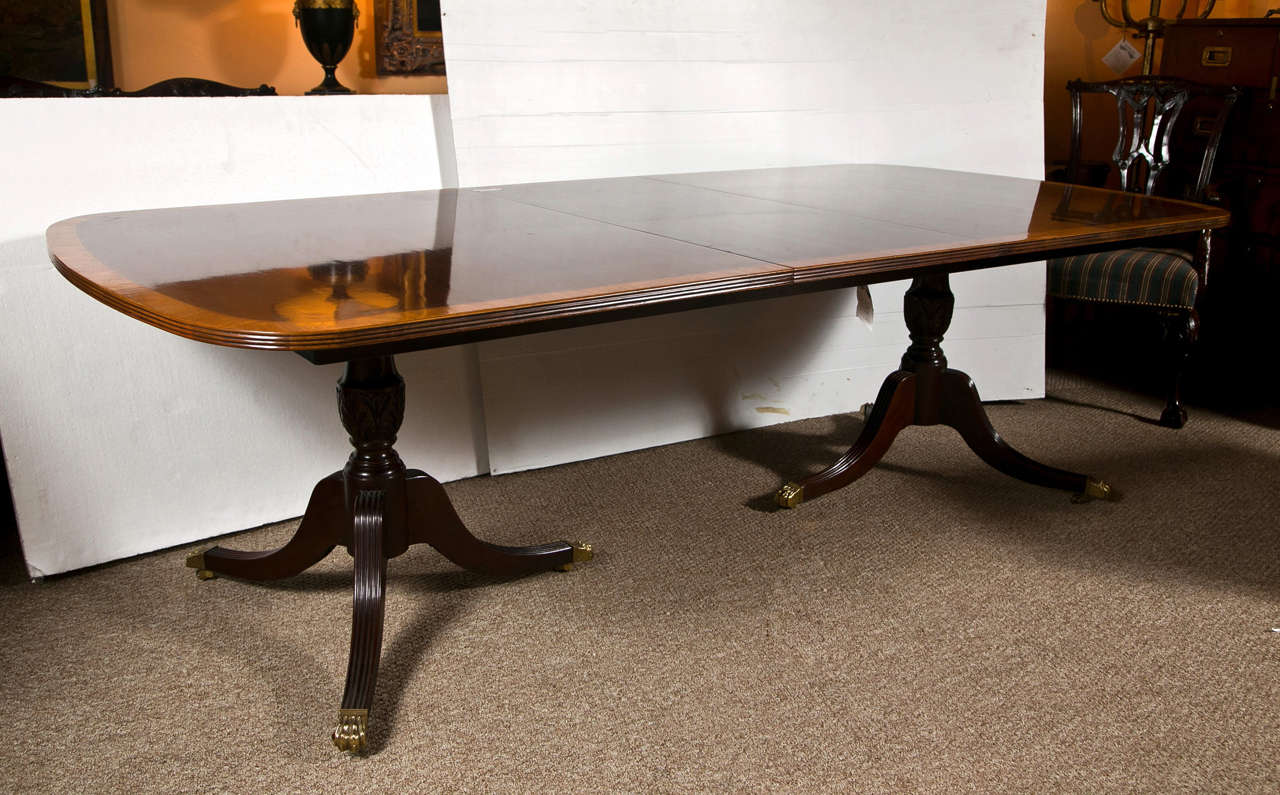 Double pedestal 2 leaf dining tables by baker at 1stdibs for Dining room table replacement leaf
