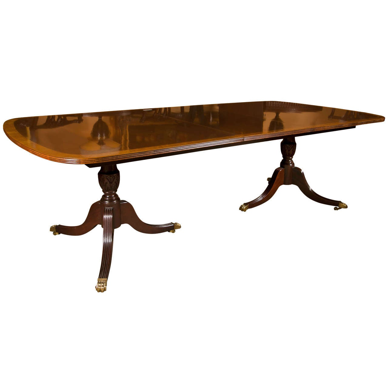 Double Pedestal 2 Leaf Dining Tables By Baker For Sale Banded Mahogany