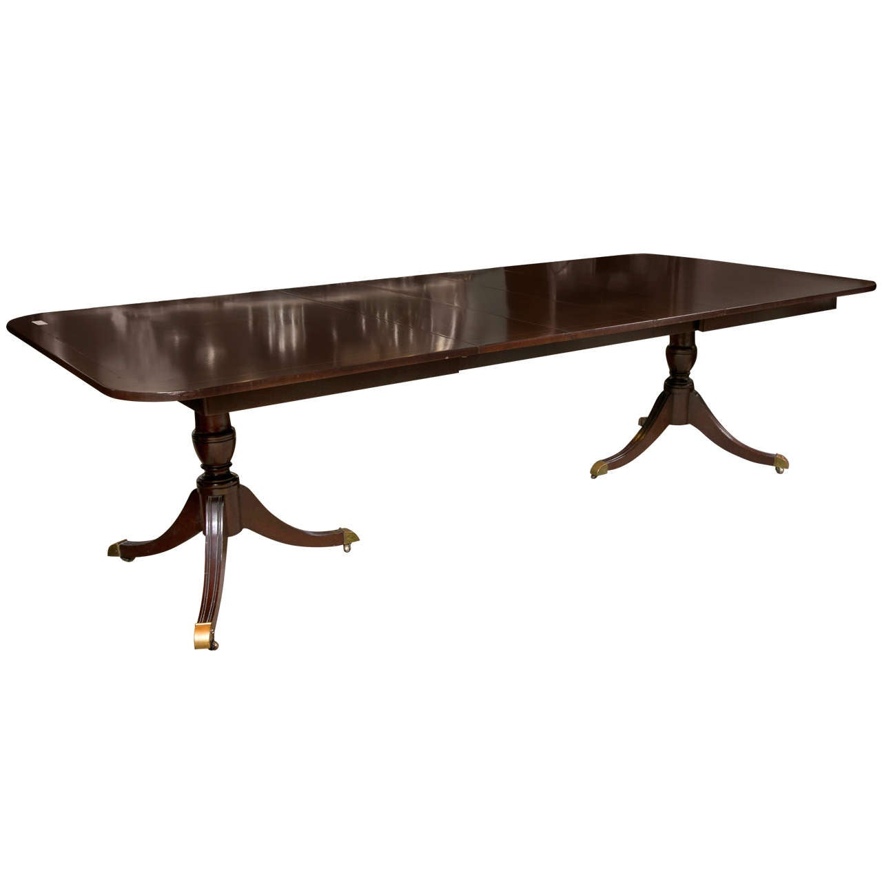 kindel mahogany double pedestal 4 leaf dining table at 1stdibs. Black Bedroom Furniture Sets. Home Design Ideas