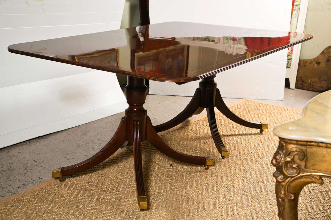 Regency Style Mahogany 2 Leaf Dining Table By Baker At 1stdibs