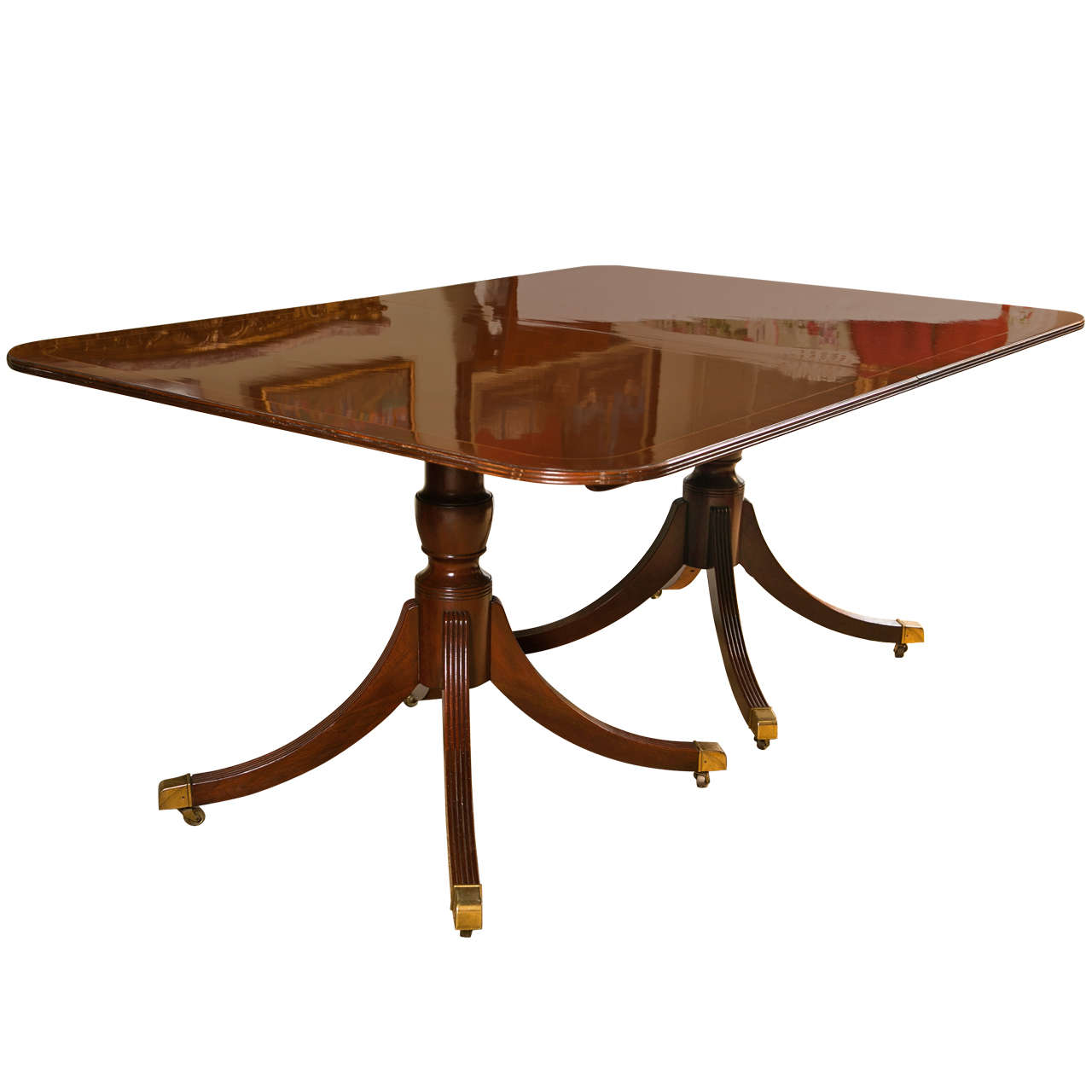 Regency Style Mahogany 2 Leaf Dining Table By Baker For Sale