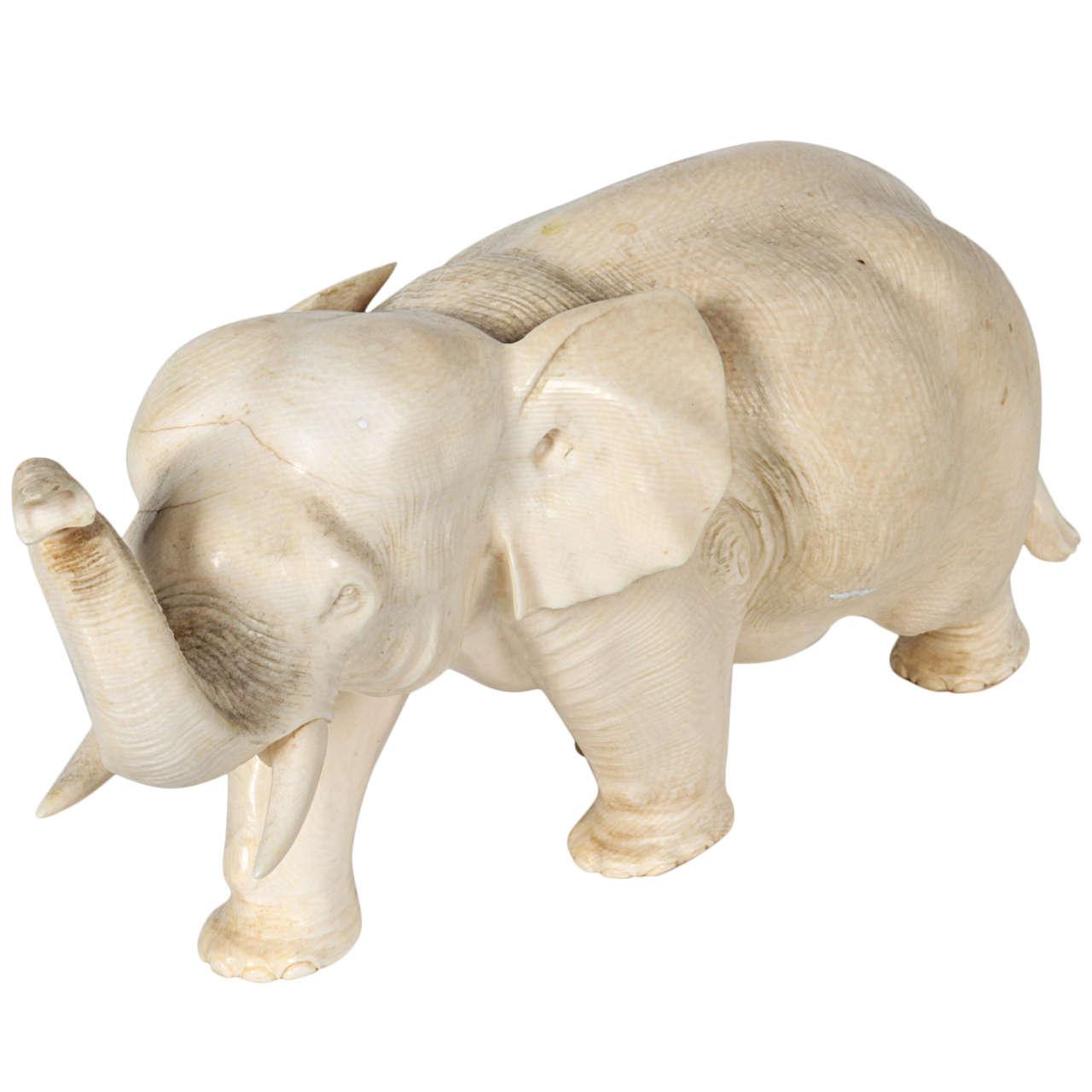 Japanese Meiji Period Artist Signed Carved Ivory Elephant