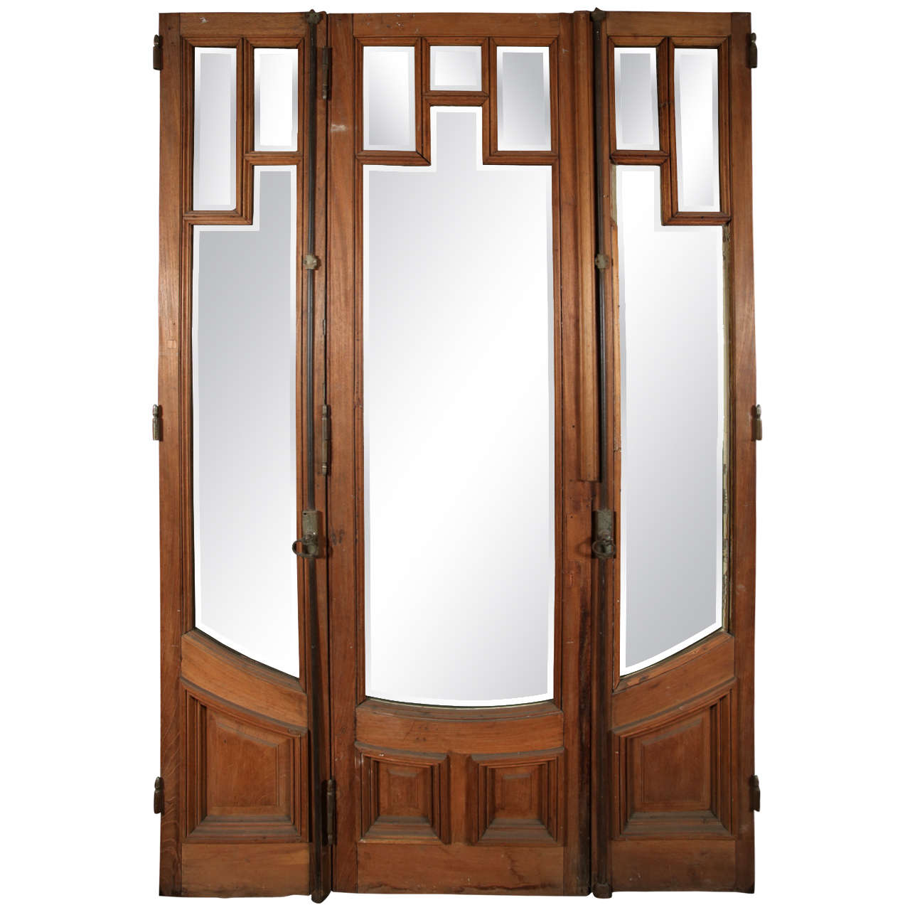 Art deco three door set with beveled glass at 1stdibs for Art glass windows and doors