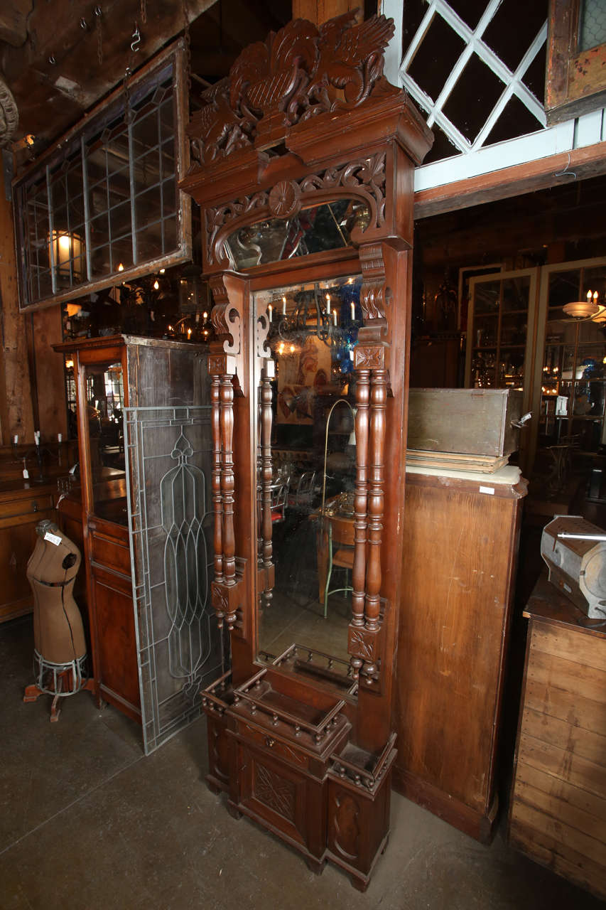 Carved Wood Pier Mirror With Original Glass For Sale At