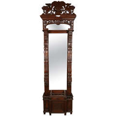 Carved Wood Pier Mirror with Original Glass