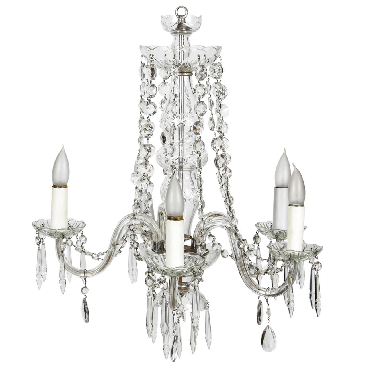 Five candle crystal chandelier at 1stdibs Crystal candle chandelier