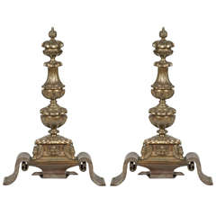 Pair of Bronze and Cast Iron Figural Andirons