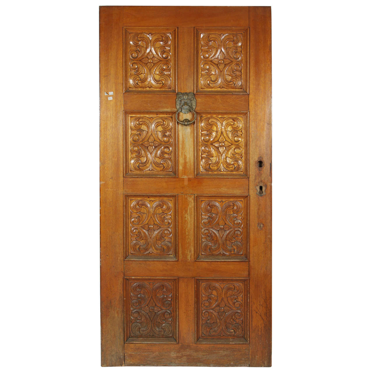 Superieur Carved Wooden Spanish Style Entry Door With Bronze Doorknocker For Sale