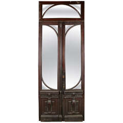 Double Door Set with Matching Transom and Beveled Glass Windows