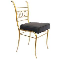1970's Weiman Italian Brass Vanity Chair