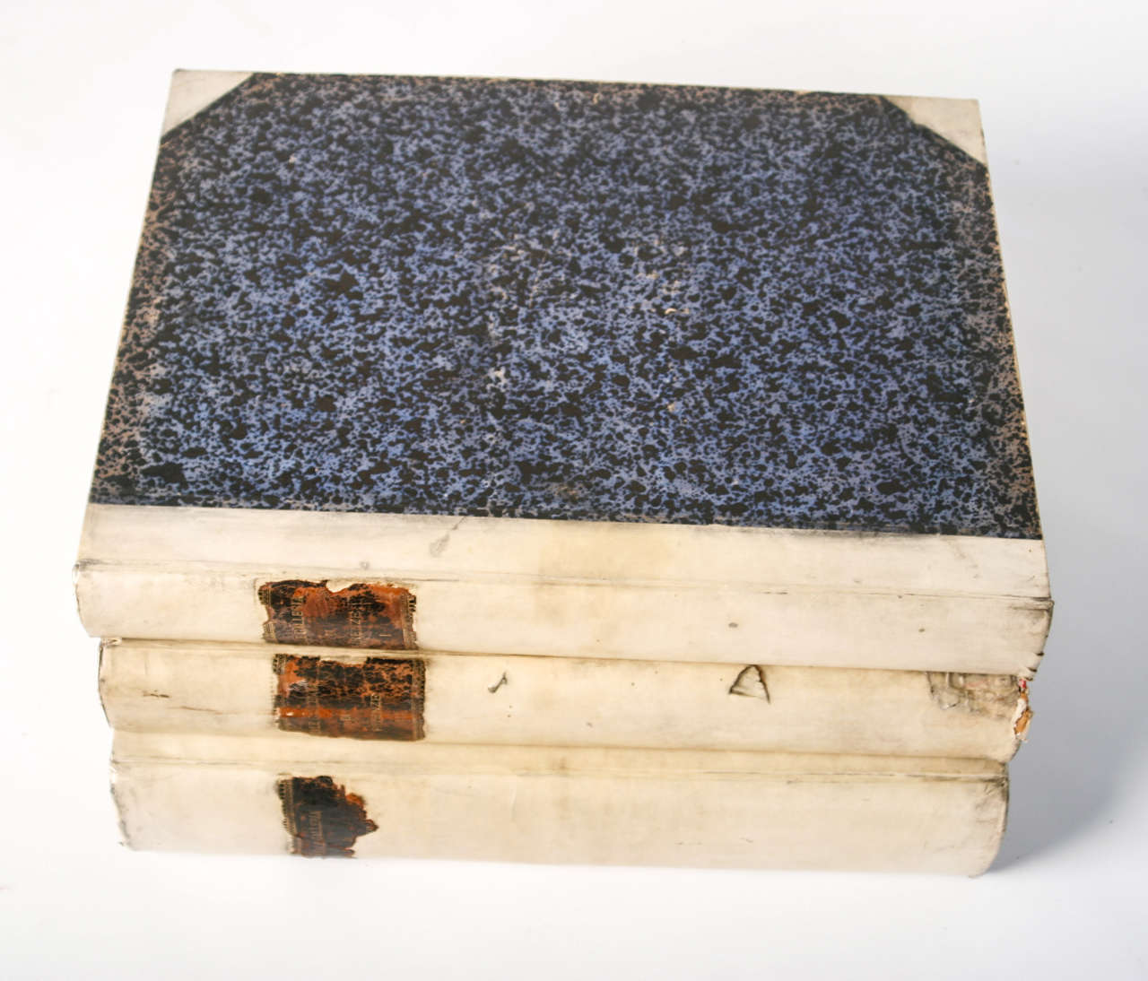 18th Century Large Vellum Books in a Three Volume Set In Good Condition For Sale In Nashville, TN