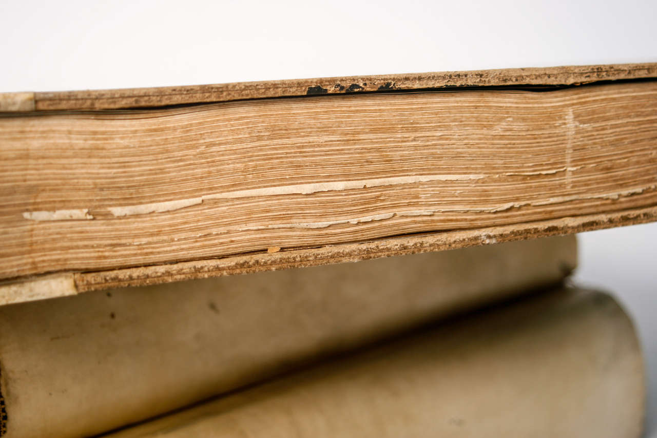18th Century Large Vellum Books in a Three Volume Set For Sale 1