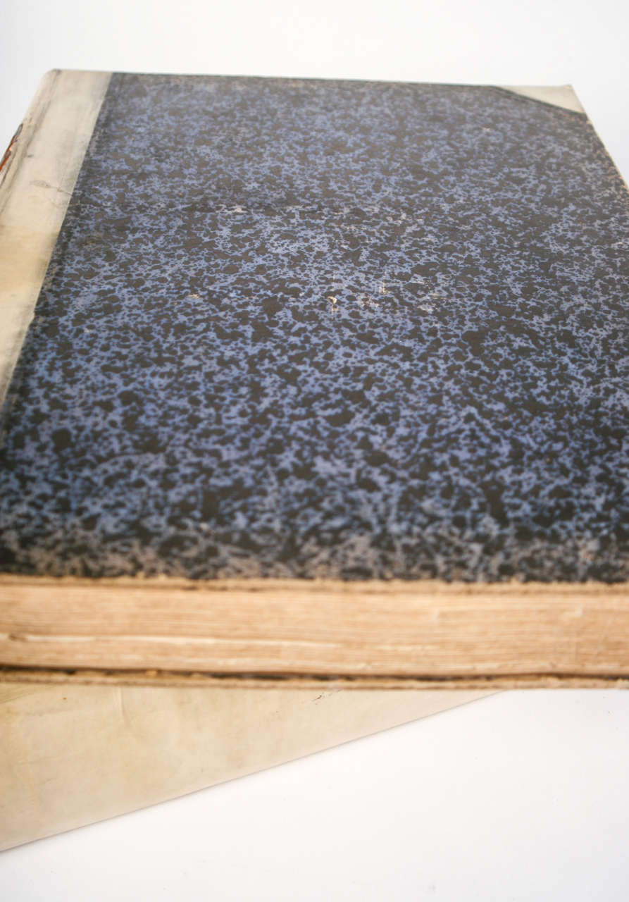 18th Century Large Vellum Books in a Three Volume Set For Sale 2