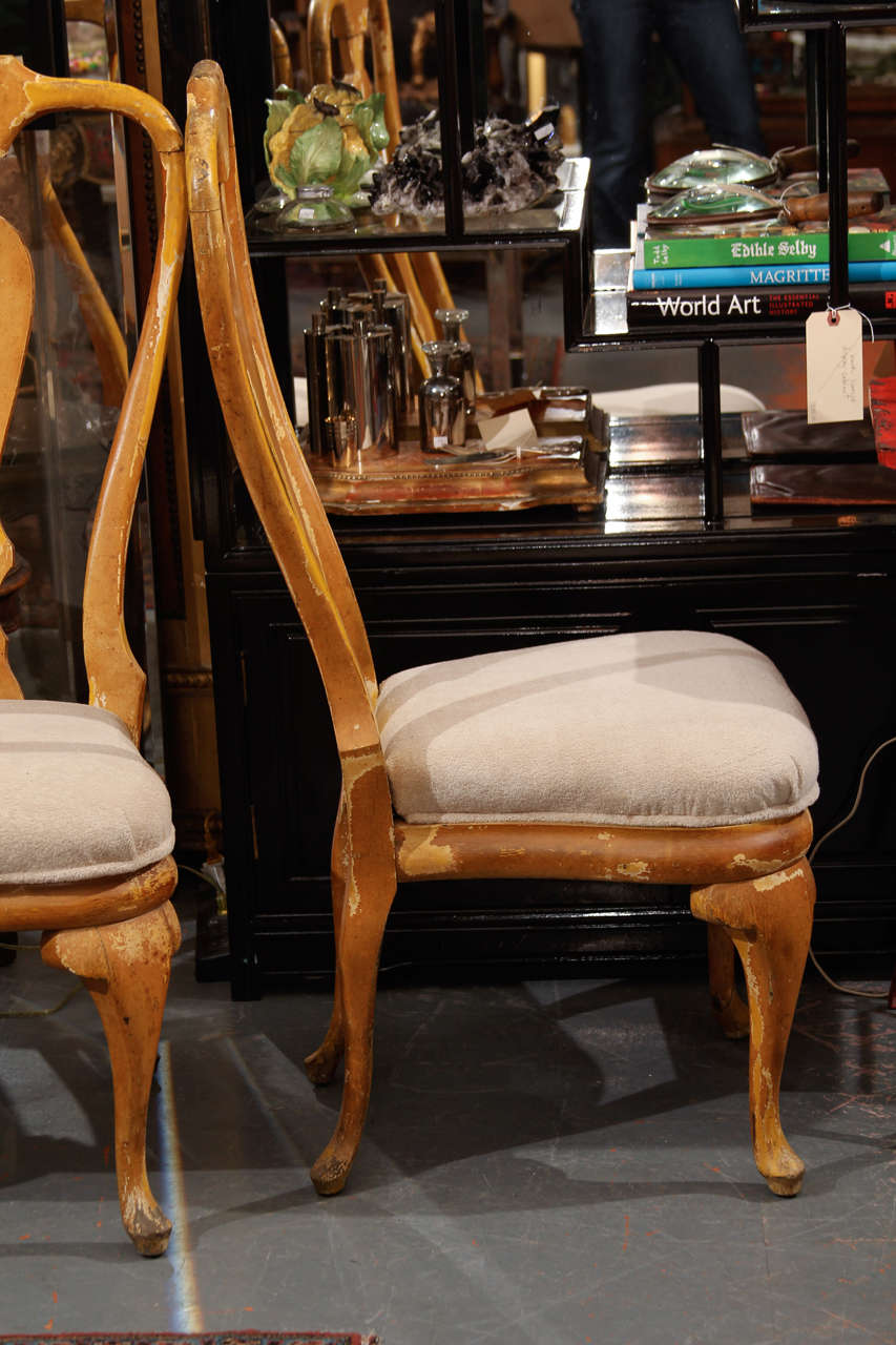 Curvy painted wood side or dining chairs for sale at stdibs