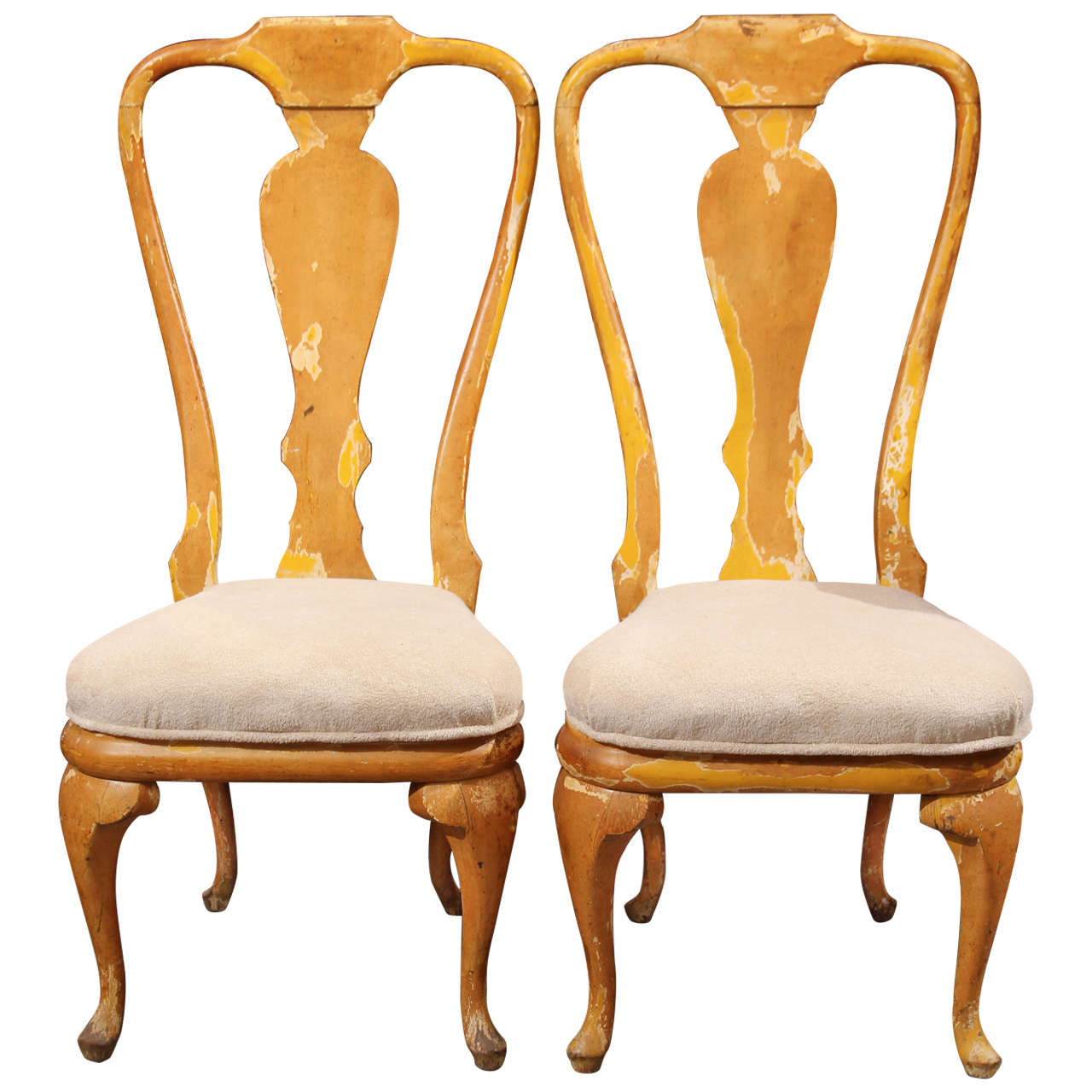 Curvy painted wood side dining chairs at stdibs