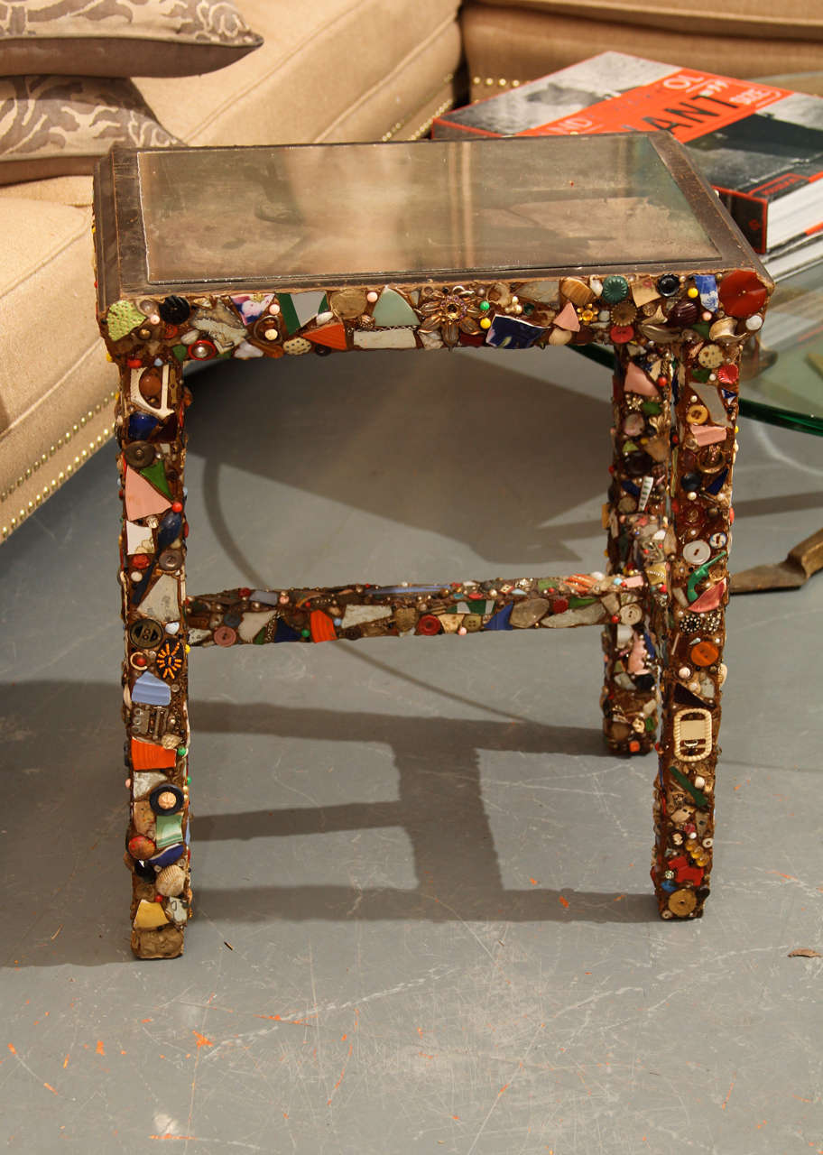 Wonderful Folk Art memory side table. Attached mirror top, great colors.