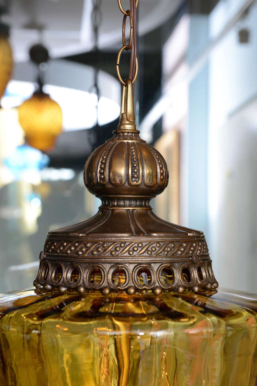 Gigantic Antique Amber Colored Pendant Chandelier 3
