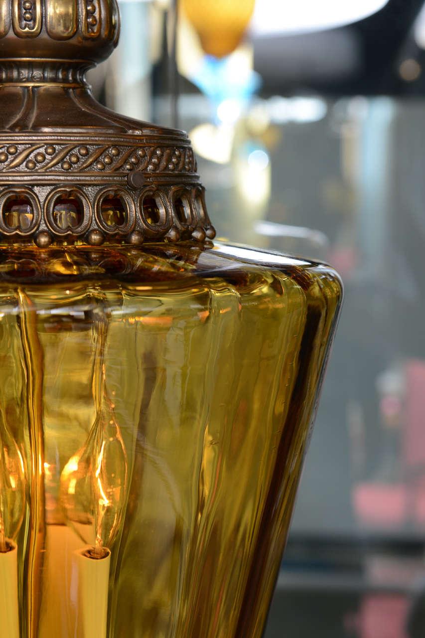 Gigantic Antique Amber Colored Pendant Chandelier 5