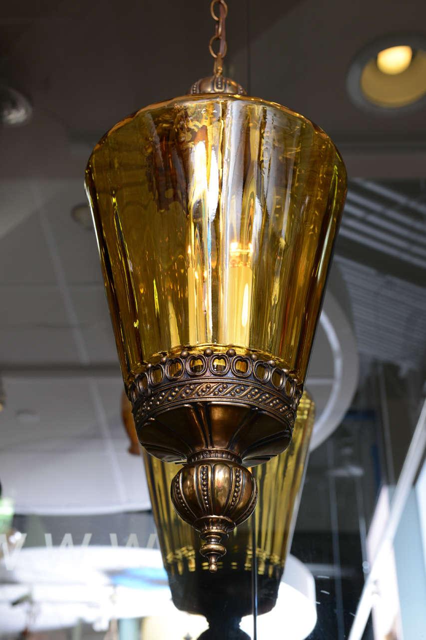 Gigantic Antique Amber Colored Pendant Chandelier 7