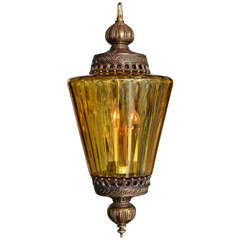 Gigantic Antique Amber Colored Pendant Chandelier