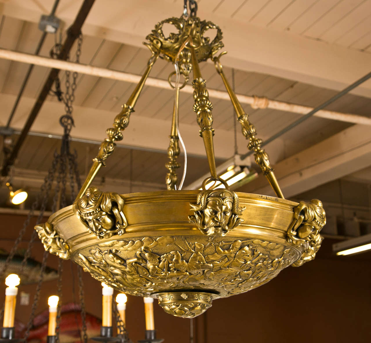 Antique Bronze Me val Style Chandelier at 1stdibs