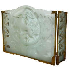 Art Deco Etched Glass Panels / Firescreen by Dennis Abbe