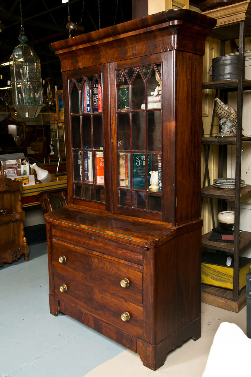 antique empire secretary in flamed mahogany for sale at. Black Bedroom Furniture Sets. Home Design Ideas