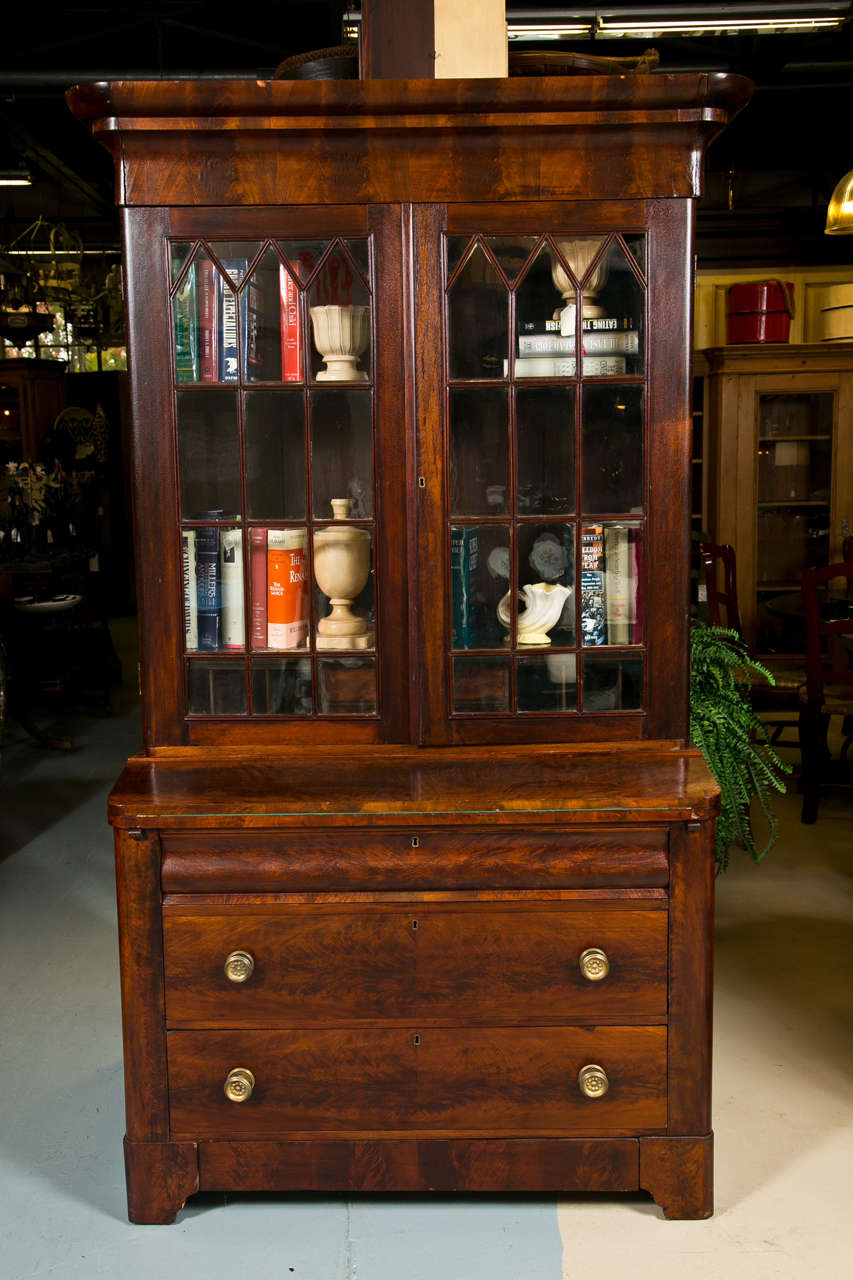Drop Front Desk >> Antique Empire Secretary In Flamed Mahogany For Sale at ...