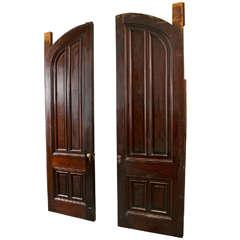 Antique Walnut Raised Panel Pocket Doors
