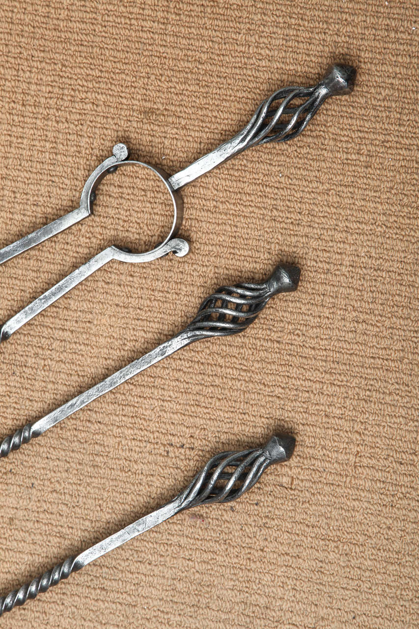English Set of Arts and Crafts Fire Tools For Sale