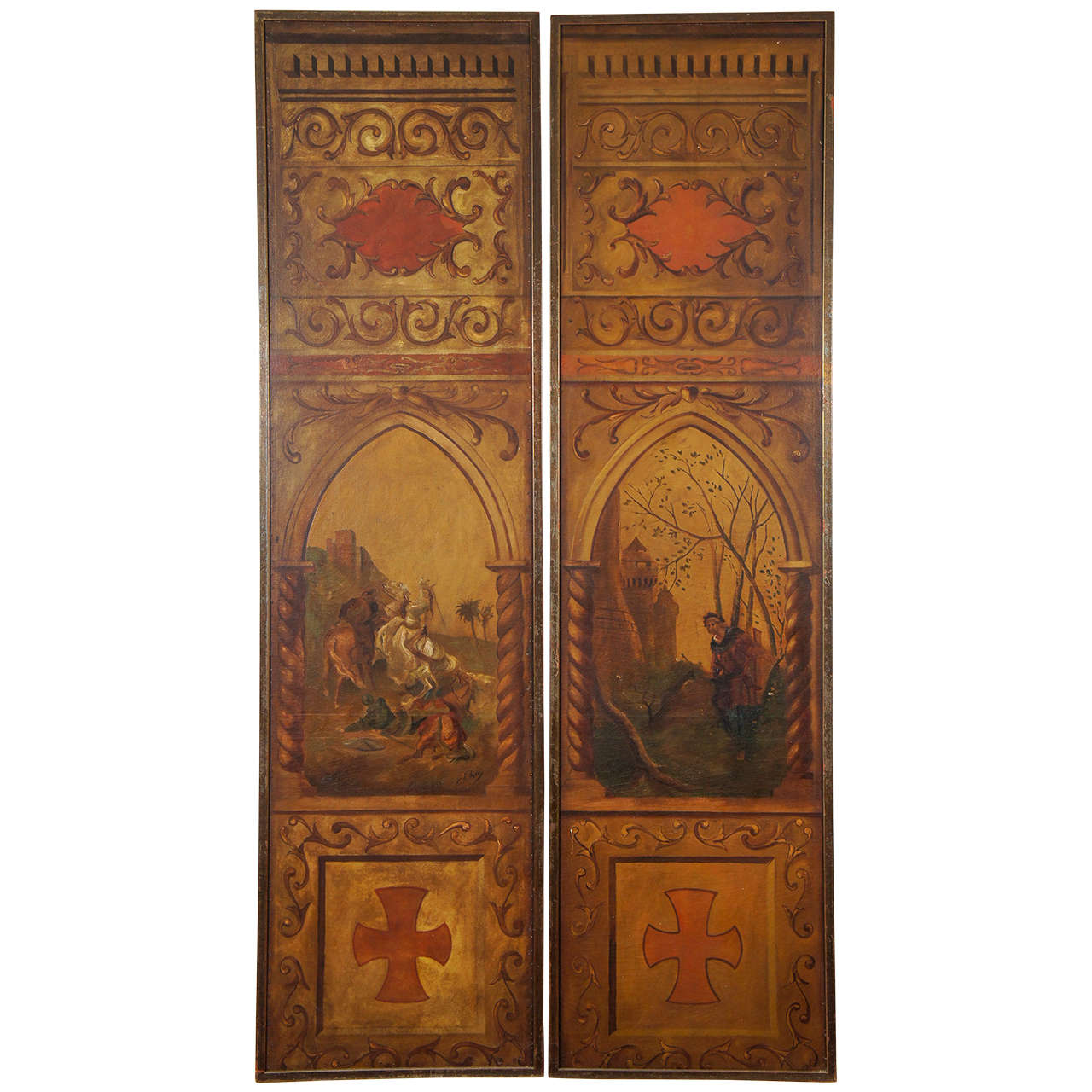 Gothic Style Painted Canvas Panels