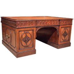 Antique English Carved Walnut Pedestal Desk, circa 1880-1890