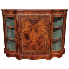 Antique English Burl Walnut Serpentine Credenza circa 1865