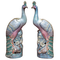 Pair of Chinese Export Famille Rose Peacocks