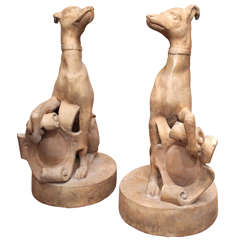 Pair of Terra Cotta Whippets with Shields