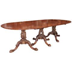 19th c. English Three Pedestal Dining Table