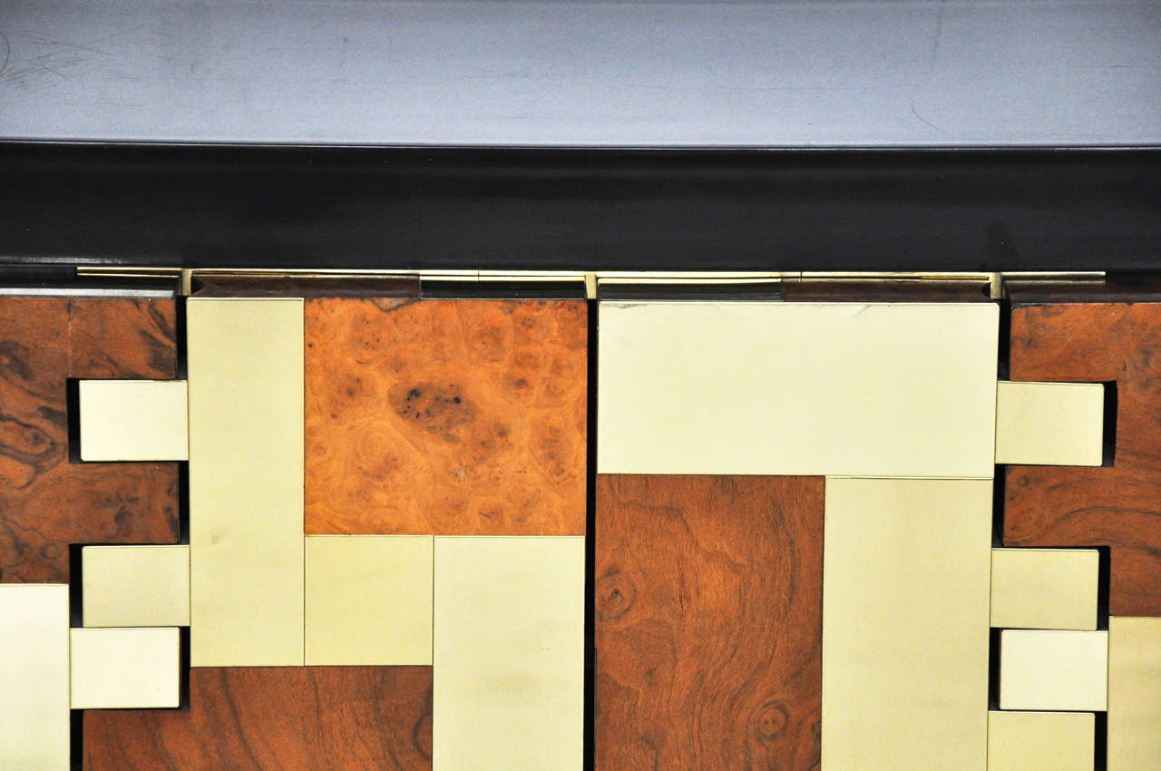 Paul evans brass and burl wood cabinet 1970s at 1stdibs for Burl wood kitchen cabinets