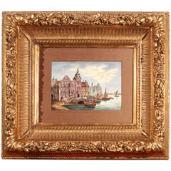 Late 19th Century Porcelain Plaque of Port in Amsterdam