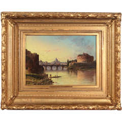 Late 19th C Oil Painting by John Linton Chapman of Castel Sant' Angelo