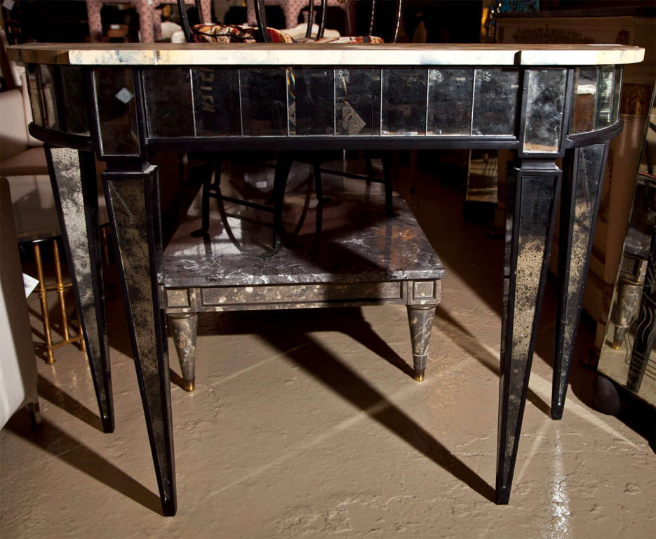 Manner Of Maison Jansen Mirrored Demilune Console Tables In Good Condition For Stamford