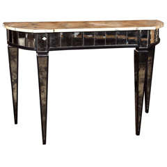 Manner of Maison Jansen Mirrored Demilune Console Tables
