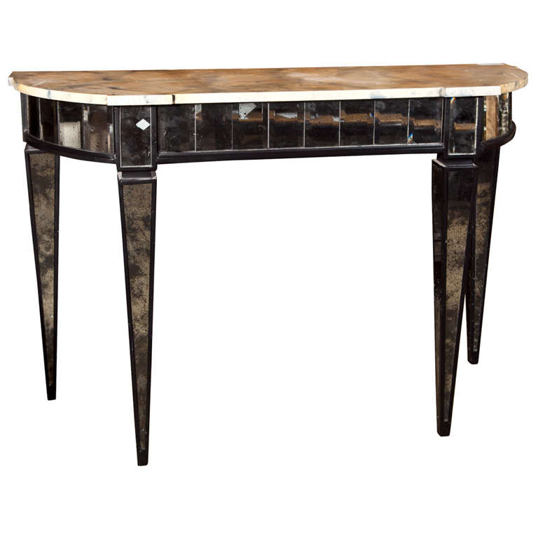 manner of maison jansen mirrored demilune console tables. Black Bedroom Furniture Sets. Home Design Ideas