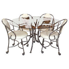 Chrome Faux Bamboo Dining Chairs & Table by Jansen