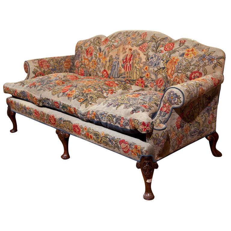 english victorian style needlepoint sofa at 1stdibs rh 1stdibs com Cottage Style Sofas and Furniture Cottage Style Sofas
