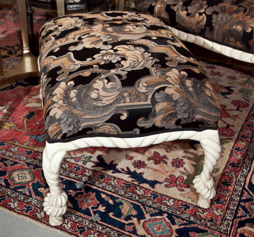 Hollywood Regency Style Painted Lounge With Stool For Sale