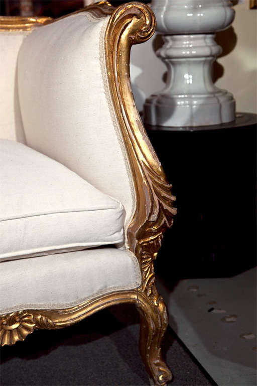 French rococo style giltwood canape sofa at 1stdibs for French canape sofa