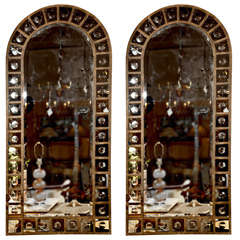 Pair of Decorative Metal Framed Bull's Eye Mirrors