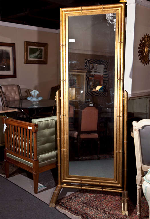 Gilt metal cheval mirror at 1stdibs for 6 foot floor mirror